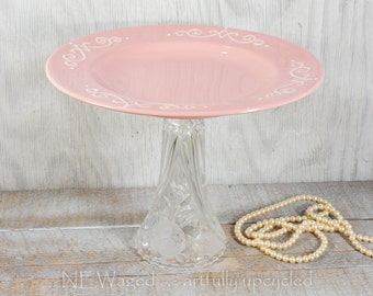 Dessert pedestal stand, decorative pink ceramic plate, wedding decor