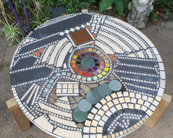 Vintage Mosaic Coffee Table Inlaid Artist Designed Tri-Leg Mid-Century Modern Style Abstract ART