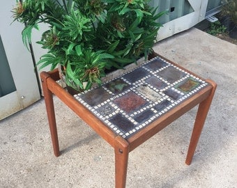 Danish Modern Inlaid TEAK Patchwork Mosaic side Table / Planter Faux Marijuana Plant Mid-Century Denmark