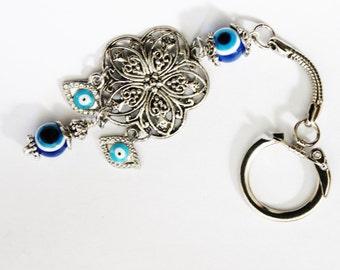 Hamsa keychain, evil eye key chain, hamsa key chain, metal keychain, love keychain, evil eye charm, hamsa charm, hamsa jewelry