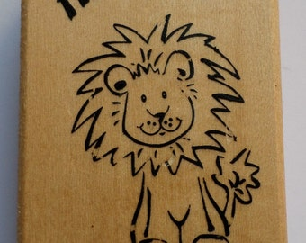Hi There! Friendly Lion Anita'S Wooden Rubber Stamp King Of The Jungle