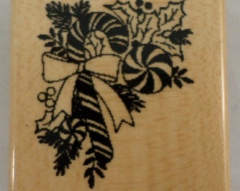 Candy Cane Peppermint Stick And Pink Leaves Holiday  Wooden Rubber Stamp