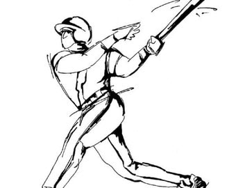 Stampington And Co Wooden Rubber Stamp Baseball Batter Player Sketch