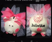 Custom Painted, Crafted and Personalized Ballerina Piggy Banks
