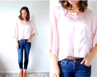20% OFF BIRTHDAY SALE Vintage boho silk lace crop top // pink silk blouse // slouchy top // summer boho blouse // silky pink blouse // night
