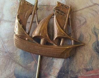 Vintage Brass Maritime Clipper Schooner Sailboat Stick Pin
