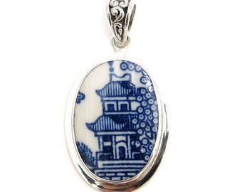 Broken China Jewelry Churchill Blue Willow Pagoda Sterling Pendant