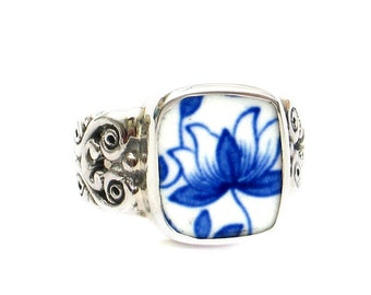 Size 9 Broken China Jewelry Spode Blue Italian M Sterling Ring