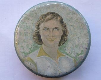 50s Vintage Soviet Socialistic Realism TIN-PLATE round HALVA box WOMANs Portrait