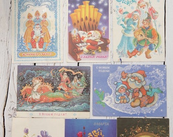 10 Old SoVIET Russian Postcards postcard New Years Day 8th March HAPPY BIRTHDAY!