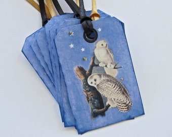 Owl Tags, Wedding tags, gift tags lot of 8
