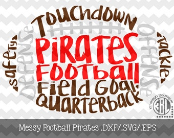 Messy Pirates Football design INSTANT DOWNLOAD in dxf/svg/eps for use with programs such as Silhouette Studio and Cricut Design Space