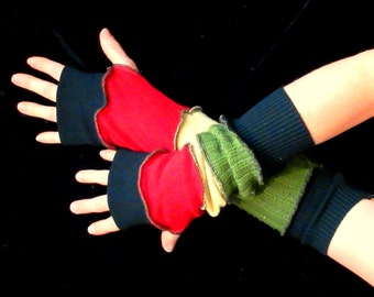 Winter gloves Reggae Colored Red, Gold, Green, and Black Arm warmers / Finger-less Mittens. Wool and cotton knit. Warm Soft Perfect gift!
