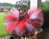 """Red, black and white adult Tutu for waist up to 34 1/2"""" great for Halloween, Birthdays, Dance and Bachelorette parties"""