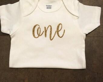 Glitter Birthday Onesie/ One/ Girls First Birthday Onesie