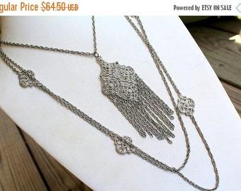 MOVING SALE Half Off Large Vintage  Silver tone Metal Huge Multi Chain Statement Runway Dangle  Tassel Necklace