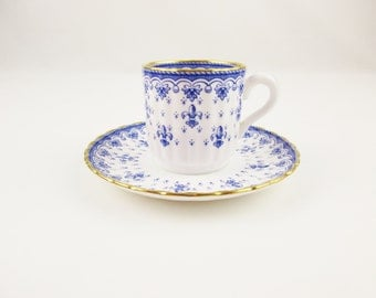 A 'Spode' Fine Bone China With Gold Trim Demitasse - Made in England - Cup and Saucer - 'Fleur De lys Blue' Pattern - No. Y8356-G
