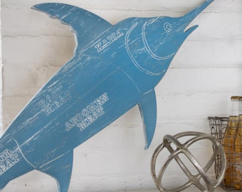 Swordfish Butcher Sign, Fish Market Sign, Broadbill Fish Sign, Meat Cuts Wooden Seafood Shop Sign Rustic Fish Home Decor Kitchen Wall Decor