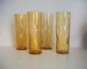4 vintage Blenko pinched drinking glass tumblers . golden Blenko tumblers . tall gold pinched tumblers . Mid Century Blenko barware glasses