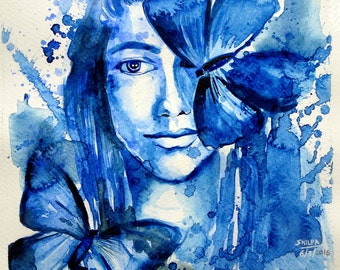Girl with butterflies watercolor painting ORIGINAL ART