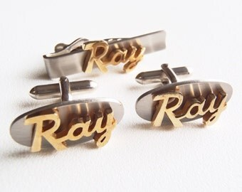 "RAY Cuff Links Tie Bar Set Swank Inc. Cuff Links w/ ""Ray"" in Gold Tone Script on Satin Silver Tone Oval CuffLinks & Tie Bar 1950s Vintage"