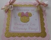 New....Gold and Pink Minnie Door Sign, Minnie Mouse Inspired Sign, Minnie Sign, Minnie Birthday Banner, Pink and Gold Minnie (MINN-GP)