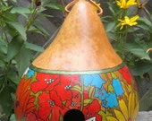 Kettle Gourd Birdhouse with hand painted Native Wildflower Design