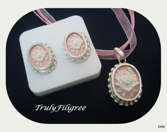 Handmade Sterling Silver Pendant and Earrings / Pink and White Rose / Resin Cameo / Organza Cord