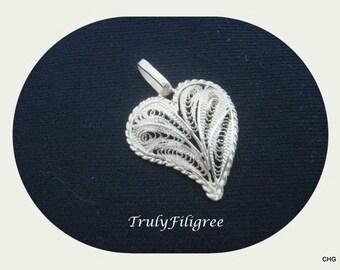 Handmade Sterling Silver Filigree Heart Pendant 2.00 cm