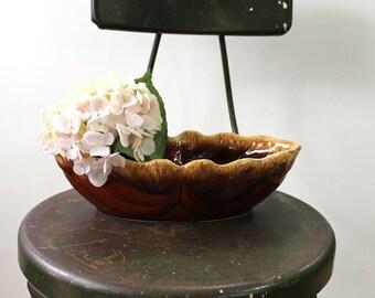 Vintage Hull USA brown drip glaze oval planter - Brown with cream art pottery - Hull F77 - mid century vintage planter - small storage