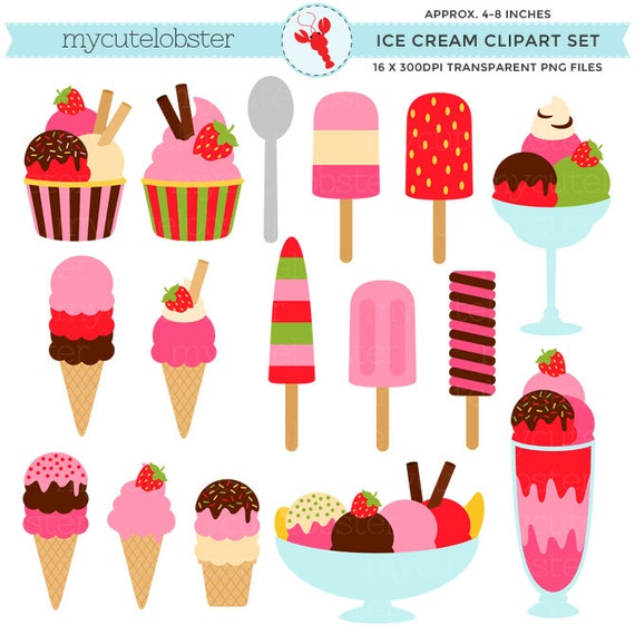 Strawberry Ice Cream Clipart Set - sundaes, ice lollies, strawberry, ice cream cones - personal use, small commercial use, instant download