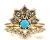 Turquoise and Diamond Engagement Ring Set - Modern Art Deco with Diamond Half Eternity Nesting Band
