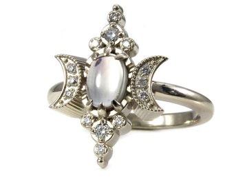 Sunstone Crescent Moon Ring with Diamonds - Modern Bohemian Engagement Ring - 14k Palladium White Gold