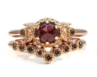 Rose Gold Engagement Ring Set - Rose Cut Garnet and Champagne Diamonds - Waxing Waning Moons