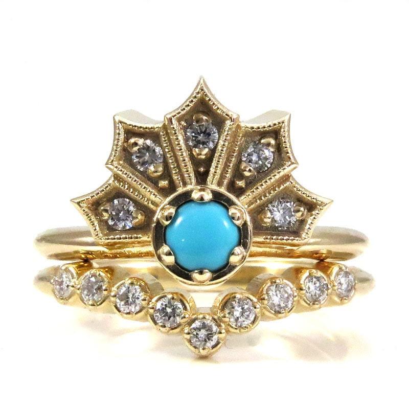 Turquoise And Diamond Engagement Ring Set Modern Art Deco