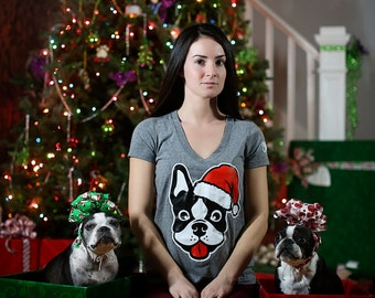 Santa Paws V Neck Shirt / Available in S-M-L-XL-2XL