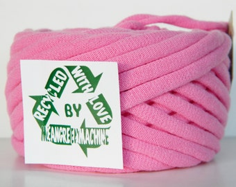 Recycled T-Shirt Yarn, Pink 36 Yrds, T Shirt Yarn, Bulky Tarn