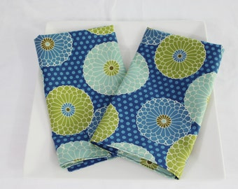 Modern Blue Flowers Cloth Napkins - Double Sided, Thick and Large - set of 2
