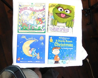 Lot of 4 childrens books and record sets Charlie Brown Care Bears Sesame Street     Box K