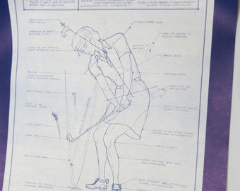 1980's Funny Comical Blueprint Drawing of Engineers Female Playing Golf