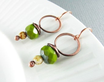 Wire Wrapped Earrings Copper Wire Jewelry Avocado Green Earrings Dangle Hoop Earrings Wire Wrapped Jewelry Copper Earrings Czech Picasso