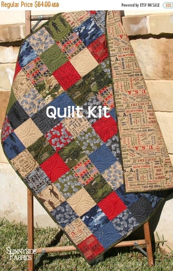 Quilt Kit Military Usa Patriotic Army Navy By Sunnysidefabrics