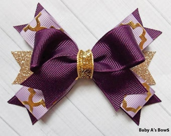 Plum and Gold Bow- Purple and Gold Bow, Plum Hair Bow, Plum Bow, Gold Metallic, Purple and Gold, Gold Glitter Bow, Fall Bow, Winter Bow
