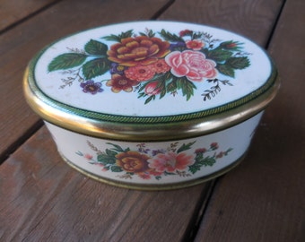 Vintage 1960s to 1970s Meister Small Tin Oval Made in Brazil Autumn Colors Flowers/Floral Collectible Pink/Rust/Green Storage Decorative