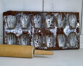 Vintage Rusty Madeleine Baking Tin