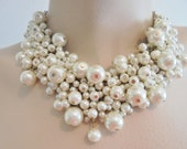 Vintage Faux Pearl Cluster Collar Necklace Gold Plated Tone Large Chunky Statement Retro Bridal Necklace