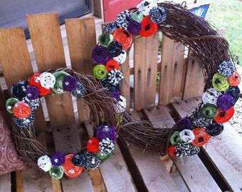 "Small Decorative 14"" Halloween Rosette Wreath"