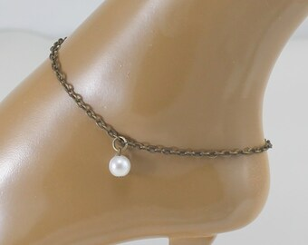 Bronze Ankle Bracelet with Pearl Charm.  Hypoallergenic Anklet.  Antique Bronze Anklet.