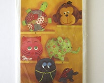 1970s Animal Pillow or Pajama Bag Pattern Simplicity 9740 Cat Owl Elephant Monkey Turtle, Pillow Toy Sewing Pattern, No Frog