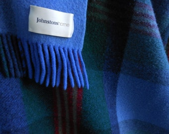 Wool Throw UK JOHNSTONS Elgin Blue Plaid